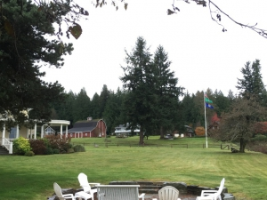 Fire Pit, House and Flagpole